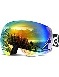 ODOLAND Gafas de esquí con magnético desmontable Diseño de la lente - para el adulto Hombre y Mujer - Espejo Revestimiento de Protección UV400 y Anti-Niebla La lente doble lente esférica cómodo para los días nublados y Sunny (VLT 20% Revo Orange Frameless)