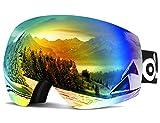 Odoland Große Rahmenlose Sphärische Skibrille für Männer und Frauen, S2 (Over The Glass BZW. für Brillenträger) Dual Gläser für Skifahren, Snowboarden, Snowmobile, UV400 Schutz & Anti-Beschla