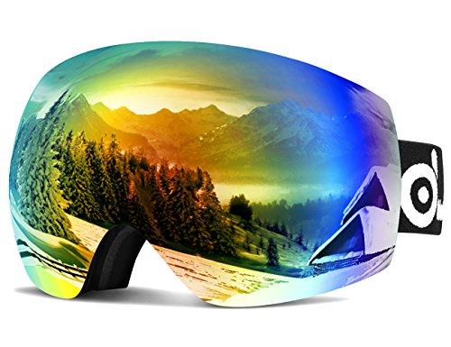 ODOLAND Große Rahmenlose Sphärische Skibrille für Männer und Frauen, S2 (Over The Glass bzw. für Brillenträger) Dual Gläser für Skifahren, Snowboarden, Snowmobile, UV400 Schutz & Anti-Beschlag (Rot+Blau)