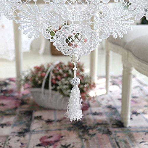 Ethomes Spitze Weiß Handgefertigt Stickerei Hohl Tischläufer mit Quaste für Tischdekoration 150cm -