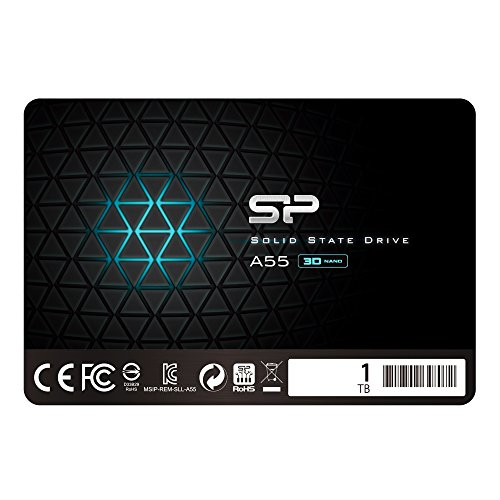 Silicon Power 1TB SSD NAND 3D-A55SLC Cache Performance Boost SATA III interne Solid State Drive-Schwarz -