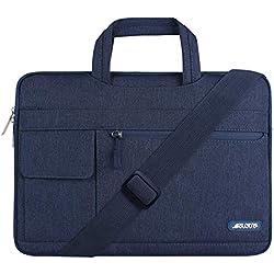 MOSISO Housse Compatible 17-17,3 Pouces MacBook/Notebook/Netbook/Chromebook/Tablette, Flapover Messenger Sac Bandoulière en Polyester, Bleu Marin