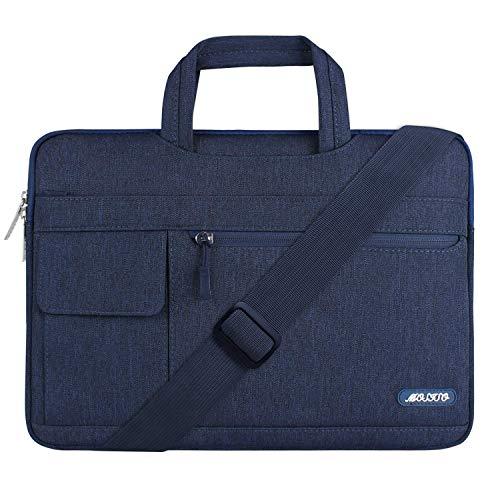 MOSISO Notebooktasche Kompatibel 17-17,3 Zoll MacBook / Notebook / Chromebook / Tablet, Polyester Flapover Art Laptoptasche Sleeve Hülle Umhängetasche mit Griff und Schultergurt, Navy Blau