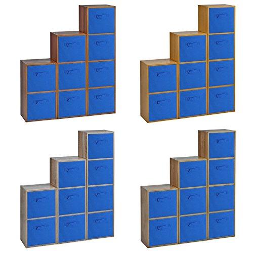 Holz-Bücherregal mit farbigen Aufbewahrungsboxen, holz, 4 Dark Blue Boxes, Antique Oak 4 Shelf -