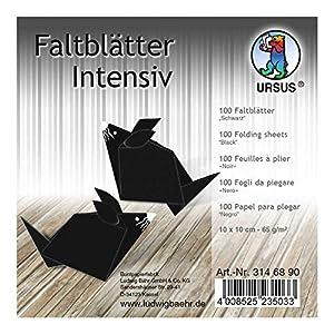 Ursus 3146890 - Hojas Plegables (100 Unidades, 65 g/m², 10 x 10 cm, para Artistas de Origami Grandes y pequeños, teñidas), Color Negro