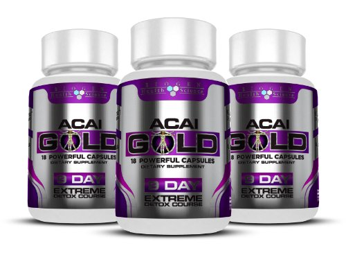 Acai Berry Gold : Deep / Whole Body Detox - Exceptional Source of Antioxidants / 100% Natural Ingredients (Maximum Strength 1 Month Course - Free Delivery)