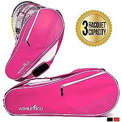 Athletico - Bolsa de Tenis Acolchada para Proteger Raquetas y Ligera, diseño Unisex para Hombres, Mujeres, jóvenes y Adultos, 3 Racquet, Rosado