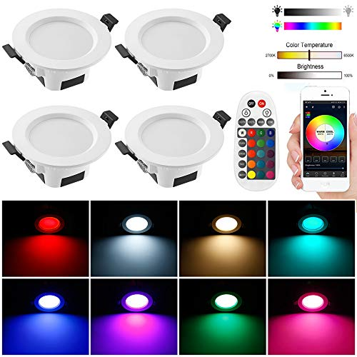 4er Bluetooth Smart 5W LED Einbaustrahler RGBW+CCT 5 in 1 Einbauleuchte LED Spots 230V Dimmbar Einbauleuchten Stahl Deckenspot für Deckenspots Wohnzimmer, Badezimmer