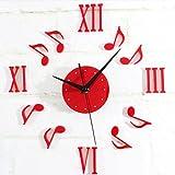 MZDZR Orologi da parete fai-da-te Numeri romani Adesivi murali soggiorno frameless Orologi silenziosi moderni pendenti nero, rosso , Red