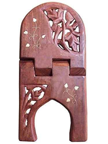 PMK regalo del día de padre libro religioso sostenedor plegable soporte de madera con la flor trabajo de talla, hecho a mano atril.
