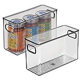 mDesign Juego de 2 fiambreras para guardar alimentos en el frigorífico - Organizador de nevera para la cocina - Cajas de plástico para lácteos, frutas y otros alimentos - gris