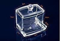 Caja Acrílico Almacenamiento para Hisopo de Algodón Organizador Caja Redonda Portable Maquillaje Algodón y Pad Para Home Hotel Oficina (A)