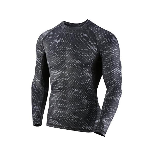 3 Piezas Niksa Conjunto Camiseta Compresión Ropa Deportiva Hombre  Pantalones Cortos y Leggings y Tops Apretada ... c64abbdd12fd9