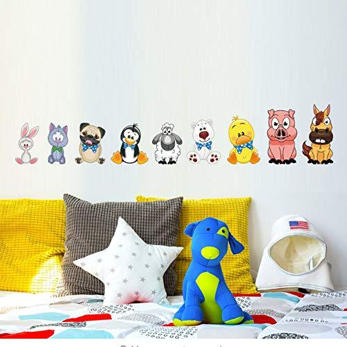 akeansa Wall Stickers Art Sticker Murals Decal Decals Children Vinyl Coon Animals Zoo Dog Rabbit Friends Wall for Nursery Kids Bedroom Wall Decals Py Supply Gifts Poster Wall Decor -