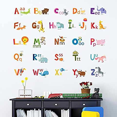 Decowall DA-1503A Animal Alphabet ABC Kids Wall Stickers Wall Decals Peel and Stick Removable Wall Stickers for Kids Nursery Bedroom Living Room