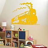 jiushizq Autocollant Mural pour Chambre Art Mural Train À Vapeur Vinyle Sticker...