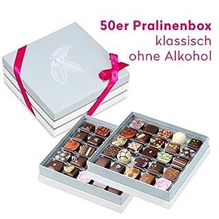 Pott au Chocolat Pralinen-Auslese - 50 ST in edler Geschenkbox ohne Alkohol - Ideales Geschenk für Frauen und Männer zum Geburtstag, die beste Mama, eine liebe Freundin, zur Hochzeit
