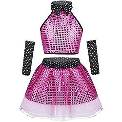 ranrann Enfant Fille Ensemble Vetement Danse Latine Robe Paillette Tutu Ballet Moderne Jazz Danse Tenue Hip hop Tulle Jupe + Crop Top Costume Spectacle Dancewear 3-14 Ans Rose 10-12Ans