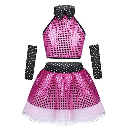 Wettbewerb Salsa Kostüm - Tiaobug Mädchen Tanzkleid Pailletten Kostüm Outfit Standard & Latein Salsa Jazz Tango Wettbewerb Kleid Neckholder Top und Rock Rose Rot 3-4 Jahre(Herstellergröße 110)
