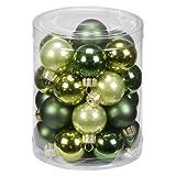 Inge-glas 17082D001 Kugel 30 mm, 28 Stück/Dose, Christmas-Green-Mix(mysticmoos,jagdgrün,lemon)
