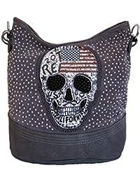 de8ddd18b601a Jn Gianni Damen Handtasche Totenkopf mit Nieten und Strass Schultertasche  USA Skull Tasche NEU