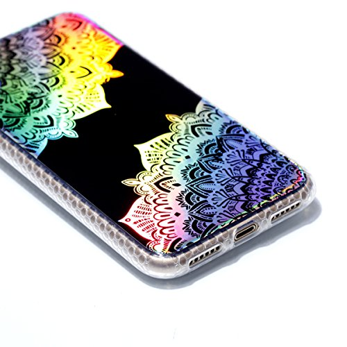 Apple iPhone X Hülle, Voguecase Schutzhülle / Case / Cover / Hülle / Plating TPU Gel Skin (Transparente-halbe Blumen) + Gratis Universal Eingabestift Schwarz-Bunt Durchstochen 09