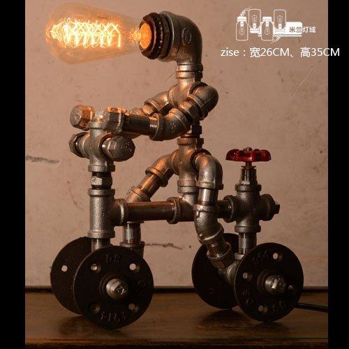 HYW Tischlampe-Wohnzimmerlicht-Rohrlampe Retro- Studienkunstindustrie-Amerikanerwind rustikale dekorative Tischlampe -