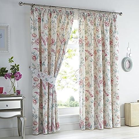 Dreams 'n' Drapes 'Jade' Bettwäsche-Set, Orientalisches Blumenmuster, Motiv: Vogel und Muster, wendbar, rose, 66x72