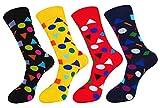 FULIER Hombre de 4 Pack Stripe algodón rico, cómodo, transpirable, diseño elegante calcetines de colores de moda (Color9)