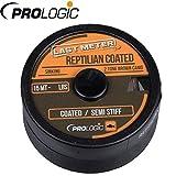 Prologic Reptilian Coated 15m - Vorfachschnur zum Karpfenangeln, Geflochtenes Vorfachmaterial für Karpfenmontagen, Karpfenschnur, Tragkraft:7kg - 15lbs