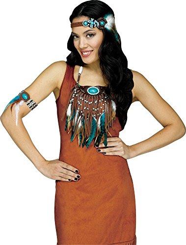 Stirnband, Armband und Halsschmuck mit Federn und Perlen für Indianerin-Kostüm (Kostüm Mit Federn)