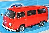 Welly VW Volkswagen T2 Feuerwehr Rot Bus Transporter 1967-1979 1/24 Modell Auto mit individiuellem Wunschkennzeichen