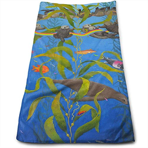 Rainbow-pools, Spas (LoveBiuBiu Sea Otters Seals Rainbow Cotton Bath Towels for Hotel-Spa-Pool-Gym-Bathroom - Super Soft Absorbent Ringspun Towels)