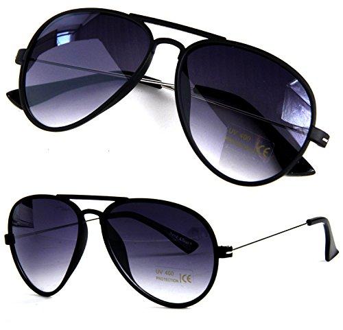 Nerd Clear Pilotenbrille Matt Schwarz Metall Bügel 70er Style Fliegerbrille Sonnenbrille