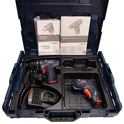 Preisvergleich Produktbild Bosch Kit GSR 10,8-2-LI (2 x 10,8V 1,5Ah Li-Ion) + GSR Mx2Drive (1 x 3,6V 1,3Ah Li-Ion) L-Boxx 102