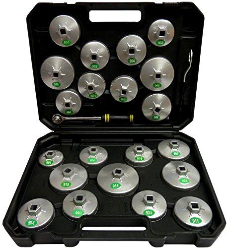 SYTO24, 23tlg. Oelfilter-Kappen, Oelfilter-Werkzeug, Oelfilter-Schlüssel, Oelfilter-Glocken aus Alu-Druckguss passend zu fast allen gängigen Ölfiltern (Werkzeug ölfilter)