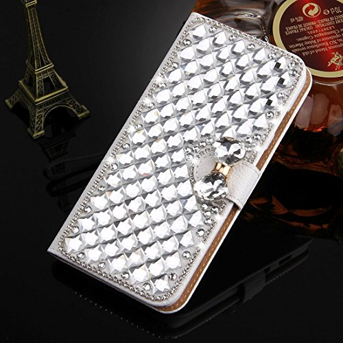 Phone case & Hülle Für iPhone 6 Plus / 6s Plus, Diamond verkrustete Bowknot Pattern Horizontale Flip Leder Tasche mit magnetischen Wölbung & Card Slots & Holder & Lanyard ( Color : Rose Gold ) Silver