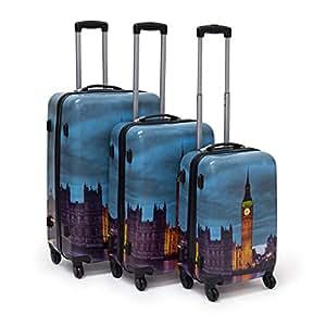 relaxdays set 3 valige da viaggio materiale plastico e. Black Bedroom Furniture Sets. Home Design Ideas