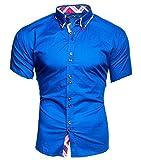 Kayhan Herren Kurzarm Hemd Hawaii Blau (XXL)