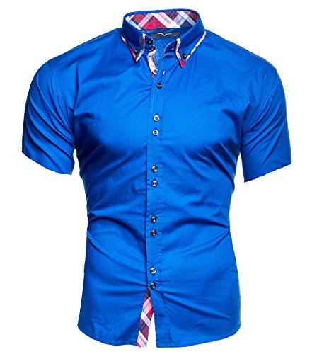Kayhan Herren Kurzarm Hemd Hawaii Blau (XXL) -