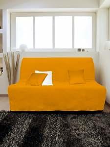 Soleil d'Ocre 110238 Housse Bz Matelassée Anti-Tache Alix Orange Polyester Orange 200 x 140 cm