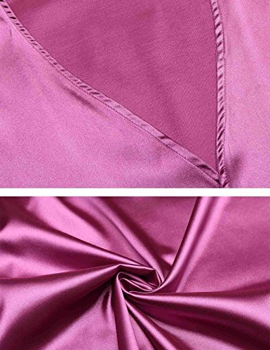 AIMADO Frauen Dessous Satin Kimono Morgenmantel Nachtwäsche Raglanärme Kurzarm V-Ausschnitt Robe Spitzenbesatz Nachthemd mit Gürtel Lila