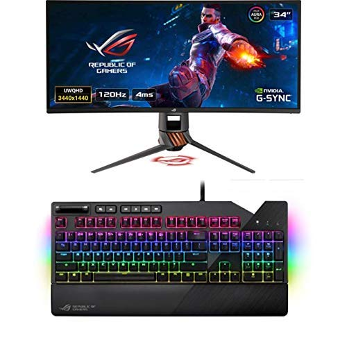 "ASUS ROG SWIFT Curved PG349Q, 34"" UWQHD, 3440 x 1440, Gaming Monitor, IPS, up to 120Hz, DP, HDMI, USB 3.0 + ROG Strix Flare Tastiera Meccanica RGB Gaming con Switch Cherry MX RED [Layout Italiano]"