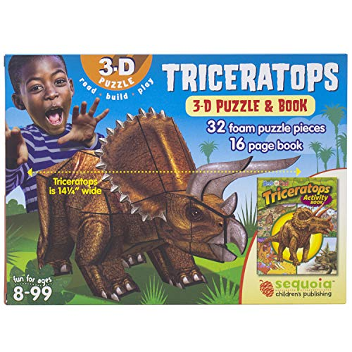 Triceratops 3-D Puzzle & Activity Book (4 Math Games Grade)