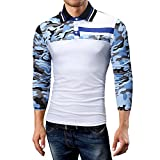 Camisetas Hombre, Lanskirt Ropa Hombre Gym Camuflaje Manga Larga Camisa de Camuflaje de Solapa Blusas Slim Fit Camiseta de Verano Tops de Estampadas Camiseta Online 2XL