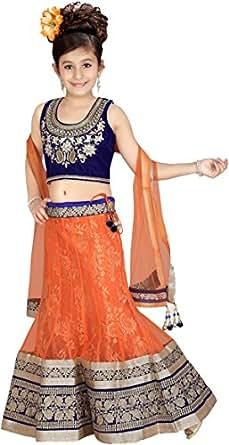 Pagli Orange Blue Kids Ghagra Choli