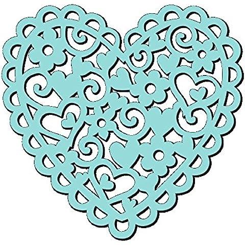 Sweet Dixie–Plantilla, diseño de corazón y flores, 6x 15,2cm)
