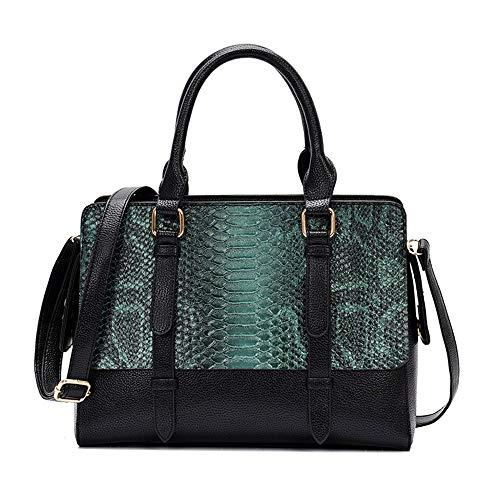 JDSXXZ Trendy Wild Python Muster Handtasche Schulter Umhängetasche, grün - Python-leder-schulter-handtasche
