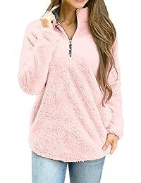 IMJONO Pull Femme, Femmes Hauts à Manches Longues Hiver Sweatshirt Chaud de  Chemisier Fermeture éclair 95a30938267d
