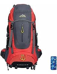 T & Y Unisex de gran capacidad de la mochila de alpinismo senderismo viajar Mochila 60L + 5L, rojo